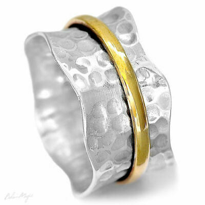 Solid 925 Sterling Silver Spinner Ring 2 Tone Spinning Hammered Wide Band