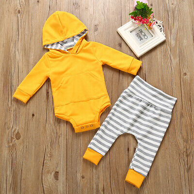 Infant Baby Boys Girls Clothes Print Hoodies Tops+Pants Leggings Outfit Set