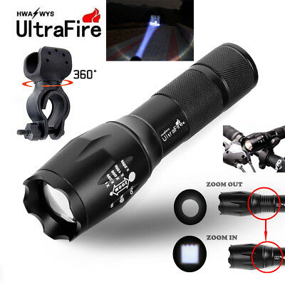 Ultrafire 50000LM T6 LED Flashlight Focus Military 18650 Battery+Torch Holders