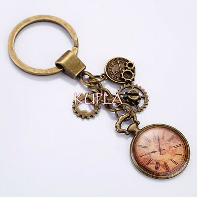 Vintage Steampunk Gear Clock Movement Key Ring Retro Steampunk Bronze Key Chain