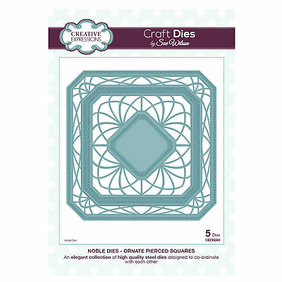 Craft Dies ced5504 Sue Wilson Noble Kollektion - Ornament piereced SQUARES