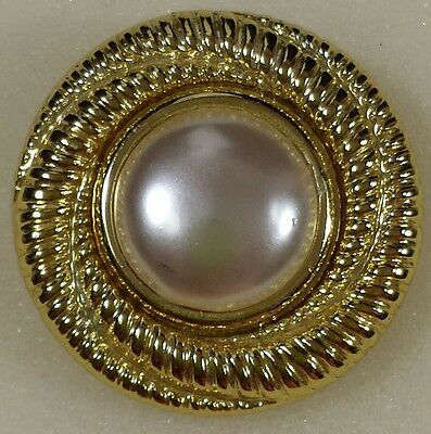 Vintage Jewelry Scarf Clip Brooch Pin Gold Tone Faux Pearl Beautiful Christma...