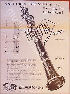 "MARTIN ""FRERES"" CLARINET AD 1950  ""Anchored Posts Eliminate Post Jitters.."""