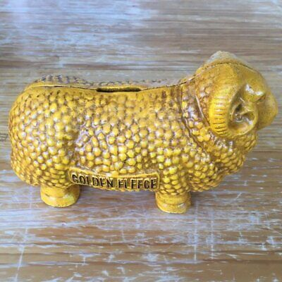 Golden Fleece Cast Iron Coin Bank Money Box Ram Retro Man Cave Pub Bar - New