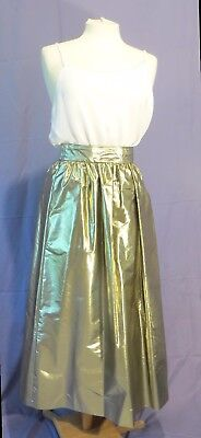 Vintage 70s 80s Gold Lame Skirt sz 16 NOS Holiday Party
