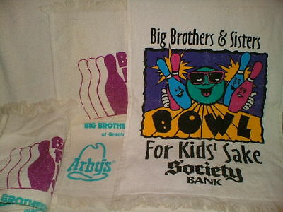 VTG LOT of 6 BOWL FOR KIDS SAKE TOWLES Big Brothers & Big Sisters 17X12 100% Cot