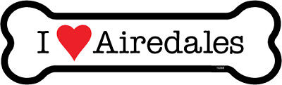 """I Heart (Love) Airedales Airedale Terrier Dog Bone Car Magnet 2"""" x 7"""" USA Made"""