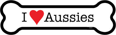 "I Heart (Love) Aussies Australian Shepherd Dog Bone Car Magnet 2"" x 7"" USA Made"