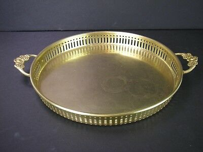 "Solid Brass 10"" Round Vintage Serving Tray with Floral Handles - India"