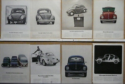 VW-Volkswagen Beetle Bug Bus Station Wagon Ad Lot (35) WOW!