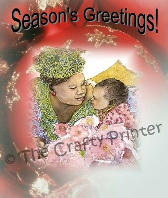 """SET of SIX - BLACK AMERICANA CHRISTMAS CARDS - """"African American Mother & Child"""""""