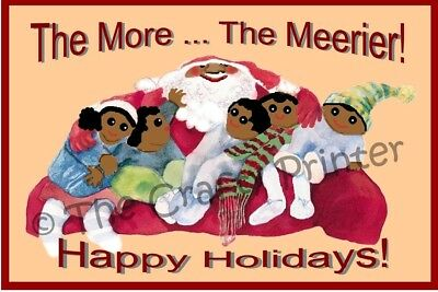 """SET of SIX - BLACK AMERICANA CHRISTMAS CARDS - Santa - """"The More The Meerier!"""""""
