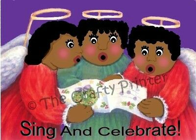 """SET of SIX - BLACK AMERICANA CHRISTMAS CARDS - """"Angels Sing and Celebrate!"""""""