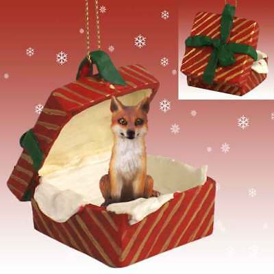 Fox Red RED Gift Box Holiday Christmas ORNAMENT