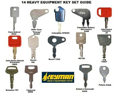 14 Keys Heavy Equipment / Construction Ignition Key Set