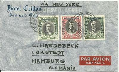 Chile 1934 , 1+2+5 P. auf Luftpost Brief v. Santiago via New York n. Deutschland