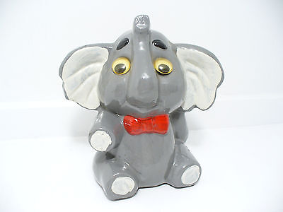 """Vintage Ceramic Coin Bank Grey Elephant Moveable Wild Eyes 5 ¾"""" Tall 5 ½"""" Wide"""