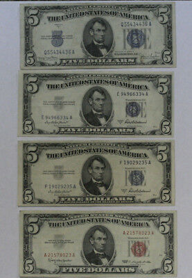 4 pc $5 Silver Certificate and United States Note Lot
