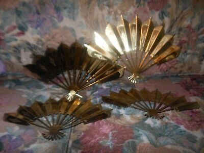 Homco Gold Fan Set 4 Large Small Metal Tin Wall Hanging Plaques Sconce