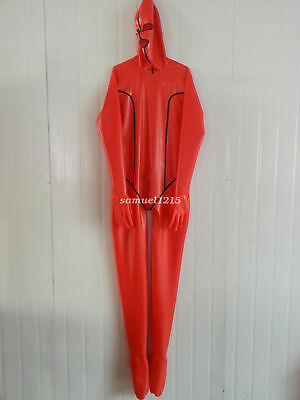Latex Rubber Gummi Ganzanzug Hot Red Catsuit Kostüm Bodysuit Suit Size XXS-XXL