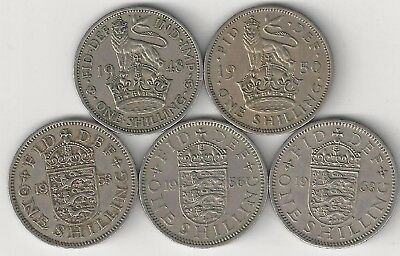 5 - 1 Shilling Coins.great Britain.1948, 1950, 1953, 1956 & 1963.english Crest