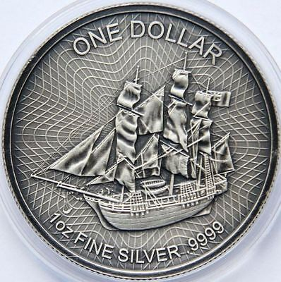 COOK ISLANDS 2017 $1 SHIP BOUNTY 1 Oz SILVER ANTIQUE FINISH ONLY FEW AVAILABLE