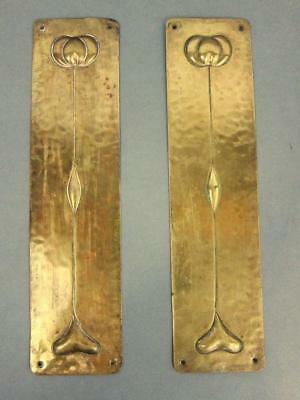 BEST ANTIQUE ART NOUVEAU BRASS DOOR FINGER PLATES 1890 Rennie Macintosh vintage