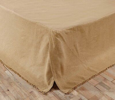 """Burlap Fringed Bed Skirt in Natural, Dust Ruffle, Choice of 3 Sizes, 16"""" Drop"""