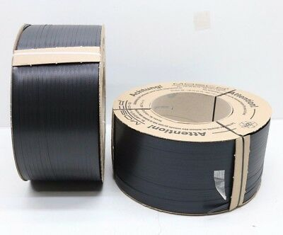 NEW 2 x 3500m Mosca 9mm Black Polypropylene Box Banding Strapping 200mm Core