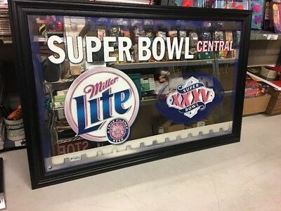 Miller Lite Beer Super Bowl Central XXXV Mirror Vintage Bar 40x25""