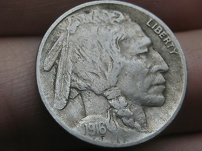 1916 P Buffalo Nickel 5 Cent Piece- VF/XF Details, Partial Horn