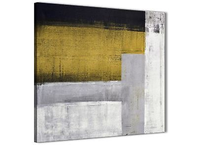 Mustard Yellow Grey Painting Bathroom Canvas Wall Art - Abstract 1s425s - 49cm