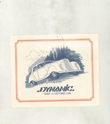 1939 Panhard Dynamic Prices Brochure French wy7819