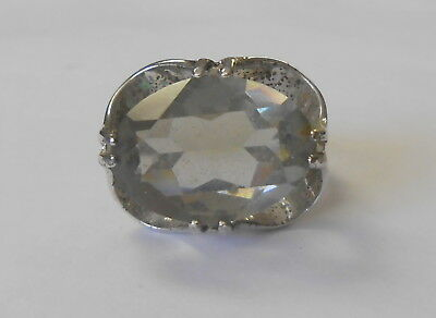 Sterling 925 Silver Vintage 1970s Ladies Ring Large Pale Blue Stone Size 7.5