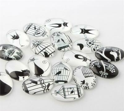 10 x OVAL BLACK & WHITE PRINTED CLEAR GLASS DOMED CABOCHONS 25mm X 18mm