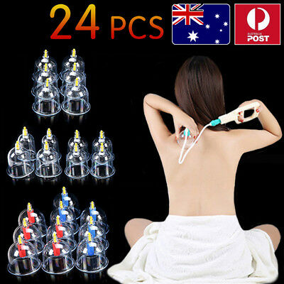 24 Cups Chinese Vacuum Cupping Acupuncture Massager Therapy Suction Pain Relief