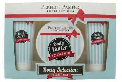 Perfect Pamper Coconut Milk Gift Set 100Ml Body Scrub + 220Ml Body Butter + 100M