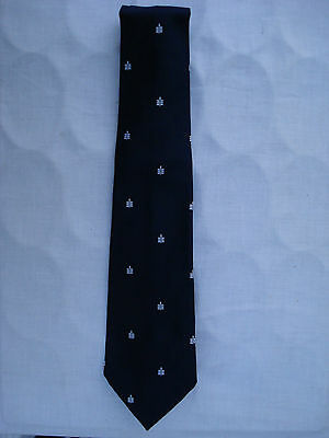 New Attractive Mens Polyester Royal Blue Tie With White Leaf Design
