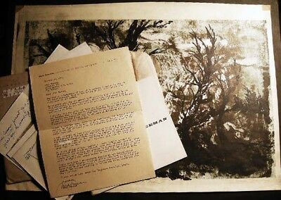 Circa 1960 Mark Freeman Signed Proof Abstract + Typed Letter Signed + Catalogs