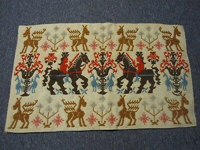 "VINTAGE MEXICO HAND WOVEN WOOL EMBROIDERED AREA RUG w WARRIORS ON HORSES 37""x22"""