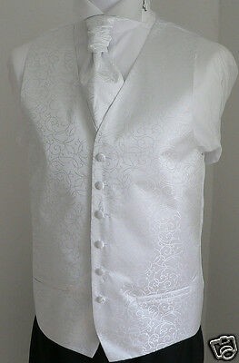 White Scroll Men's/Boys' Wedding Waistcoat & Cravat Set