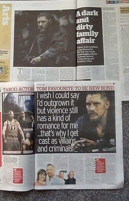 TOM  HARDY Great Lot Of News Mag Articles/clippings