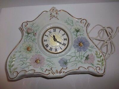 Vintage French Country Cottage  Lanshire Electric Porcelain Mantle Shelf Clock