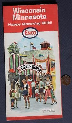 1965 ENCO Oil Gas Service Station Wisconsin-Minnesota Circus World Roadmap-NICE!