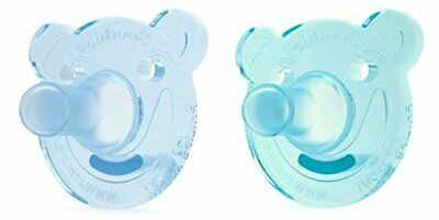 Philips AVENT Soothie Bear Shape Pacifier, Green/Blue, 0-3 Months, 2 Count New