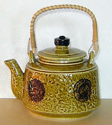 Vintage Ceramic Tea Pot Made In Japan Wooden Handle Very Good Condition