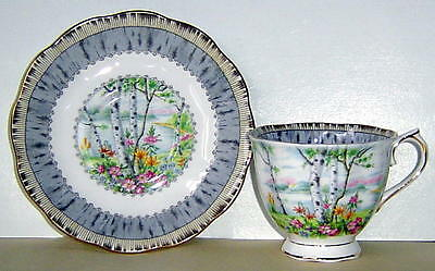 Beautiful Vintage Royal Albert Cup & Saucer Silver Birch Excellent Condition