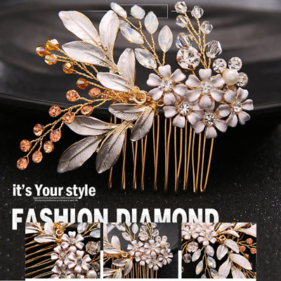 Bridal Crystal Hair Comb Hair Clip Pins Wedding Party Flower Hairwear Jewelry