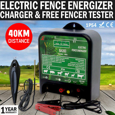 NEW 40km 12V Power Electric Fence Energiser Charger Poly Wire Tape Post & Tester