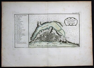 1764 - Salvador Bahia Brazil Brasilien Bellin handcolored antique map